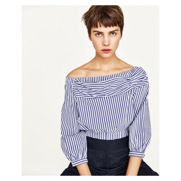 1defb407 Zara off the shoulder striped crop top L